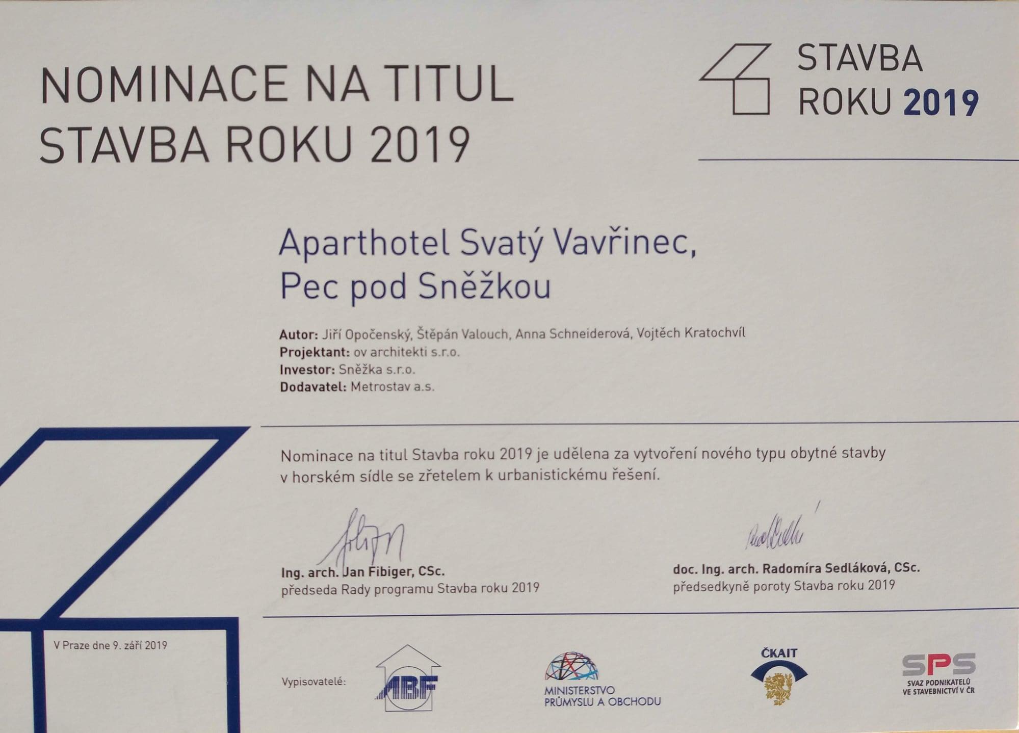 Aparthotel Svatý Vavřinec - Stavba roku